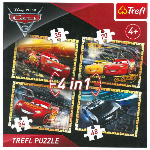New Trefl 4 In 1 Boys Girls Kids Disney Cars 3 McQueen Jigsaw Puzzle